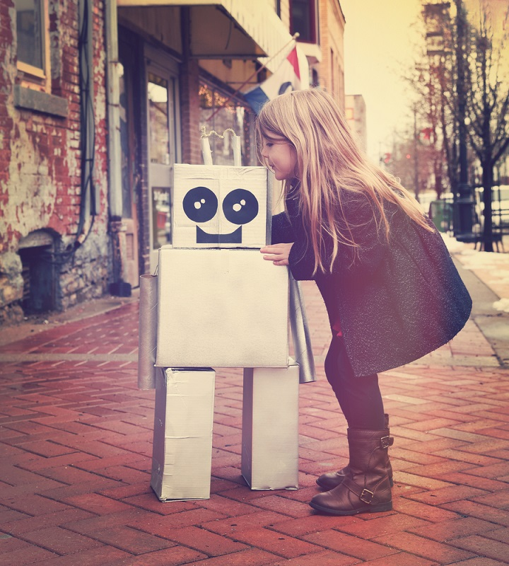 Girl hugging a robot