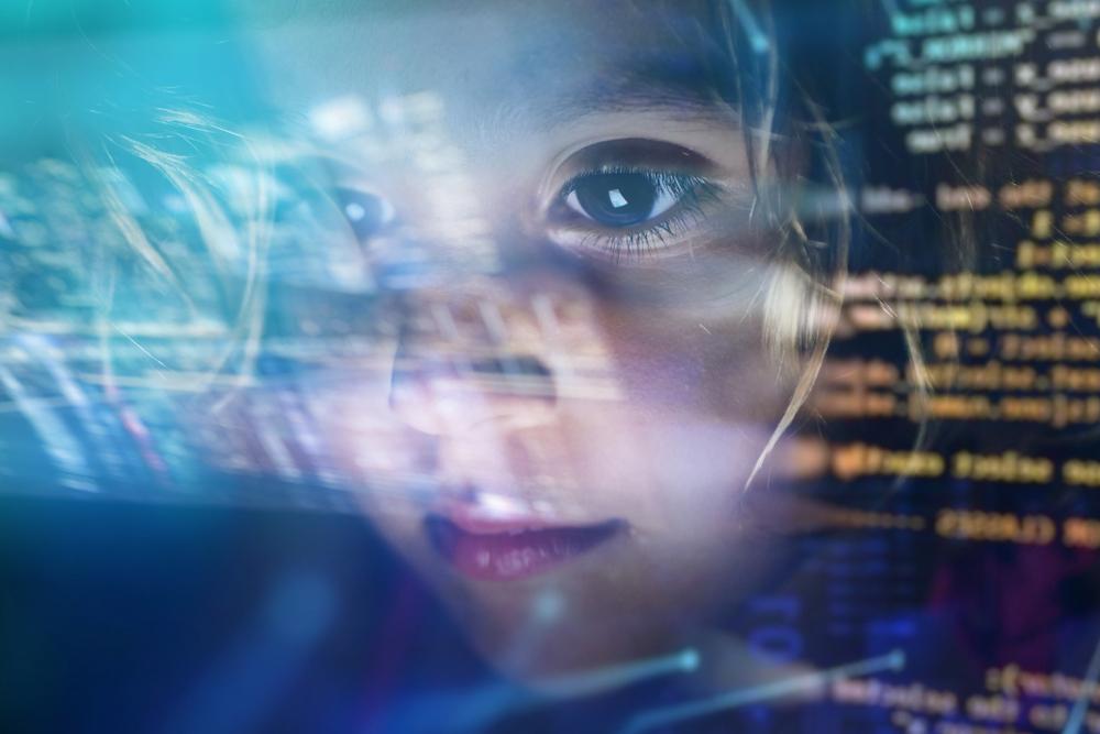Girl looking at code