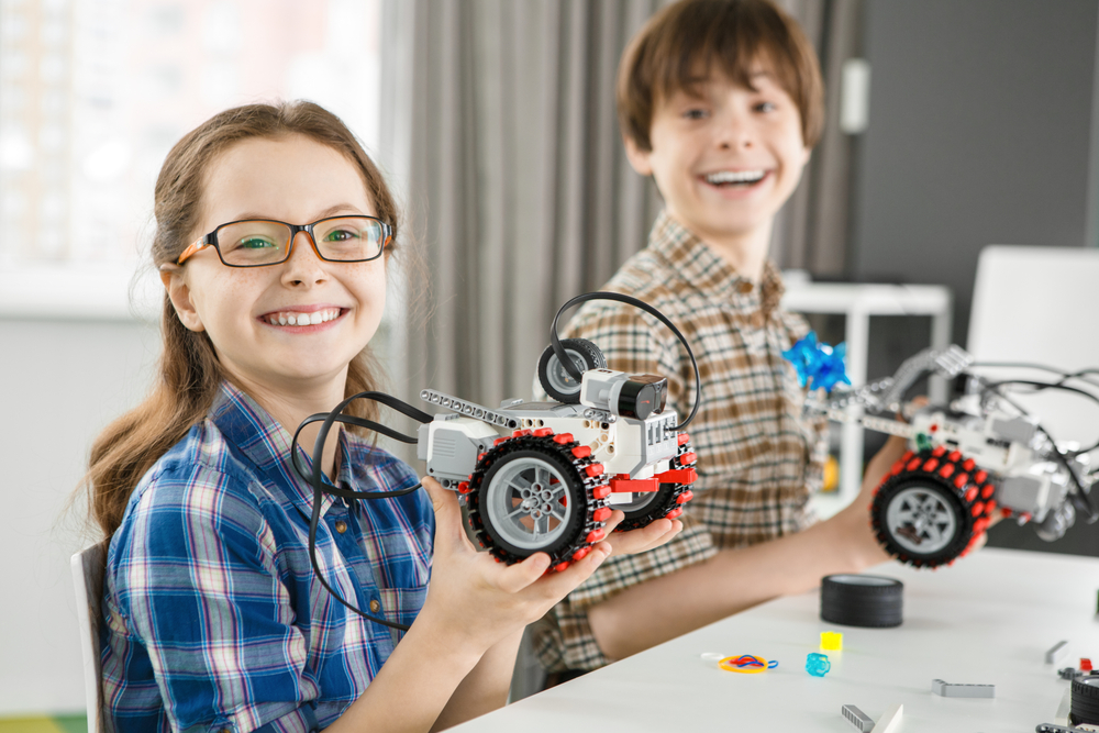 children with lego mechanics